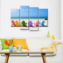 Relaxing Seascape Canvas Prints,Holiday Seaside Scenery, Canvas Wall Art Framed(30x60cmx2pcs+30x80cmx2pcs)(China (Mainland))