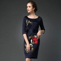 M-3XL 2015 Spring Plus Size Women Office Vintage Dress Vestido Ladies Elegant Embroidery Sexy Slim Long Black Dresses