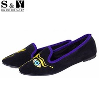 S&Y Brand Autumn Spring Summer Big Eyes Ladies Shoes Woman Pointed Toe Women Flats Shoes Loafers Ballerina Flats Black Blue 2015