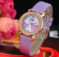 DOM women dress quartz watch ladies Eiffel Tower rhinestone watches vintage leather women's wristwatch relogio feminino bracelet