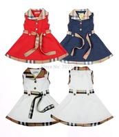 Retail wholesale Kids / Girls Brand Dresses Children Princess Dress Summer cotton Infant/Baby Dress teenage Navy Red White