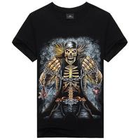 New 2015 Casual Men's Wear 3D Printed Designer Skull Resident Evil Men T Shirt,Hip Hop One-Neck Fitness Men Creative T Shirt