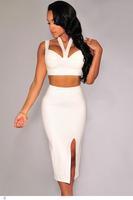 Sexy Halter Neck Sleeveless White/Black/Red Skirt Set LC60002