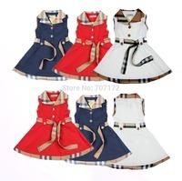1pcs Baby Girls Sleeveless Dresses For 2-7Yrs Kids Plaid Dress Childrens Summer Clothing British Style Princess Navy Red White