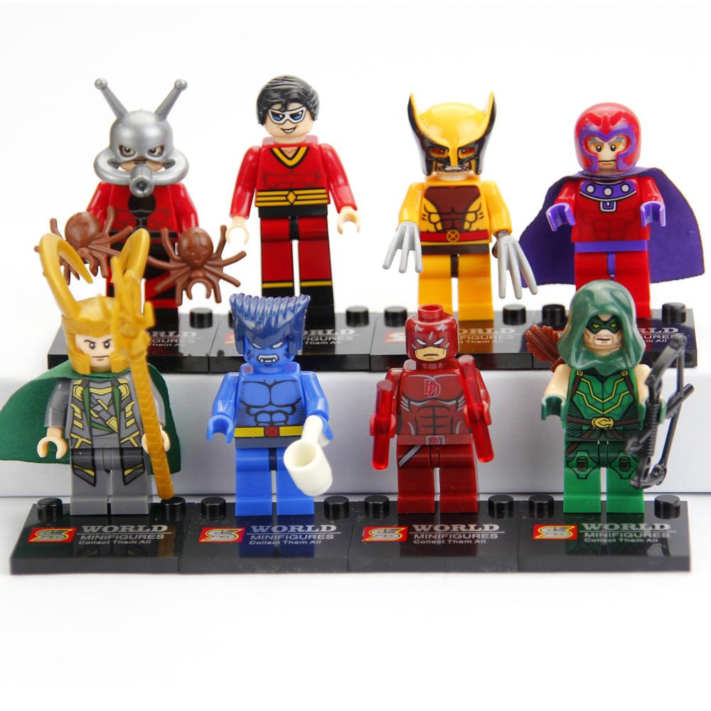 8 Pcs Magneto Plastic Man Daredevil Green Arrow Mini Figures 2015 New Kid's DIY Educational Blocks Bricks Building Toys(China (Mainland))