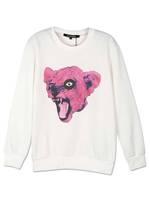 White Leopard Head Print Long Sleeve Loose Casual Sweatshirt 2015 Spring New Women Fashion