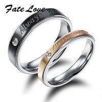 Fashion Wedding Ring set with Australia AAA Crystal Rings of Stainless Steel Material Couple Ring Valentine Gift 453