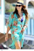 Turquoise Floral Print Tasseled Holiday Beachwear LC41107
