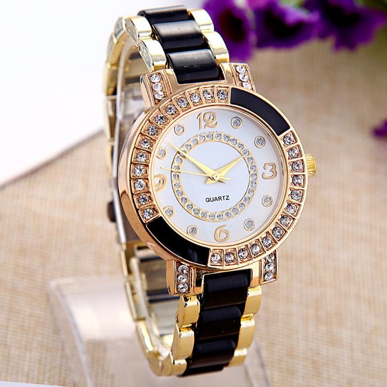 TOP Luxury Brand Watch Crystal Cope Ceramic Watches Women Rhinestone Dress Wrist Watch Quartz Wristwatch Relogio Quartz Clocks(China (Mainland))