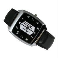 Free Shipping  Doctor Who Black  Leather Band Fashion Boy Lady Woman Man Wrist Steel Watch