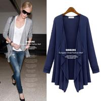 Trend All-match Cotton Long Sleeve Casual Women Coat Autumn 2014 Irregular Pure Color European Abrigos Mujer 8021
