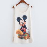 2015 Woolen Tank Tops Appliques Regular Print Casual Natural Color Tanks &amp  Camis Mickey pattern