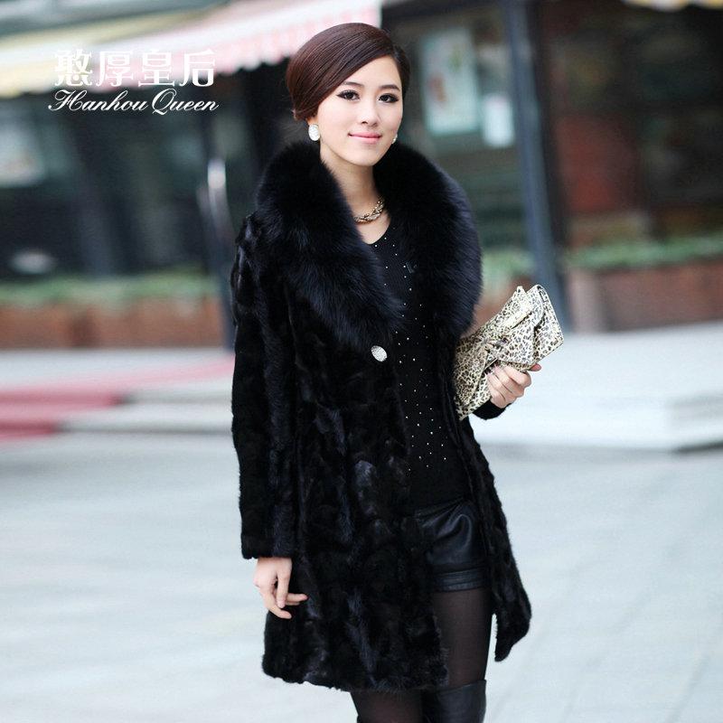 2014 Female middle long section imitation mink fur coat fox fur collar Stitching mink coat grass leather coat PC3933268(China (Mainland))