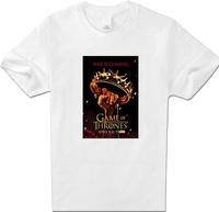 Men Clothing Fashion Personality T-Shirts Game of Thrones King Crown T Shirt Women Full Cotton short White XXL Top T Shirt