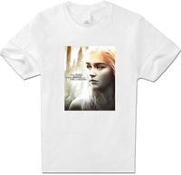 Women Clothing Tee Fashion T-Shirts Colors Game of Thrones Daenerys T Shirt Women Full Cotton short Sleeve White XXL Top T Shirt