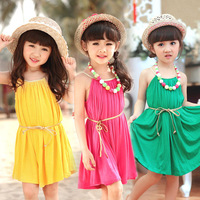Pls buy any 2pc in shop sz100~130 2015 summer  child clothes girls dress baby children sleeveless maxi dresses candy beach