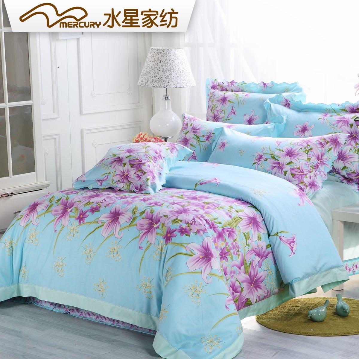 2015 New Real 40 Jogo De Cama Bedding Sets Perfume Lily 100% Cotton Duvet Cover Bedrug Four Piece Set Kit Bed Sheets Bedding(China (Mainland))