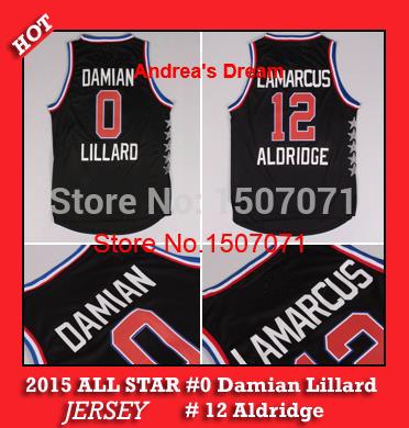 New Arrival 2015 ALL STAR Western 0 Damian Lillard Basketball Jersey black Embroidery Logo Aldridge Jersey all star All Stitched(China (Mainland))