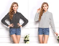2015 NEW Hot Sale Free Shipping Vocisar Women Casual Long Sleeve Blouses Summer Chiffon Polka Dots Shirt Tops Wholesale