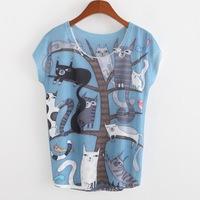 2015 Casual T Shirt Women Woolen Short Appliques Regular Print Regular Natural Color Floral T-shirt