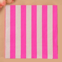 20pcs 100% Virgin Wood Napkin ,Rose Red Thick Stripe Color Napkin Paper For Wedding Party Decoration