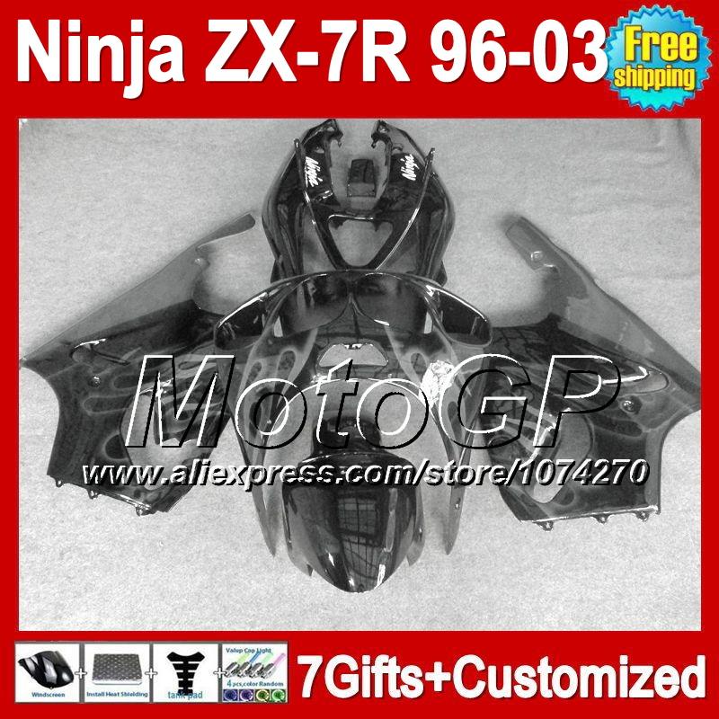7RFor KAWASAKI grey black 96-03 NINJA ZX-7R 1996 1997 1998 2003 P12112 ZX 7R ZX7R 96 97 98 99 00 01 02 03 grey flames Fairing(China (Mainland))