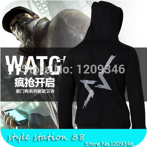 2015 Brand Game Watch Dogs Shooting Agent Design Fleece Man Hoodies Sportsuit Printed Sweatshirt Plus Size Zip Jacket Sudaderas(China (Mainland))