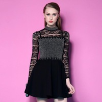 2015 New Arrival Spring Brand Women Black Lace Dress Full Sleeve Stand Neck Work Office Sexy Party Dresses  LIREN D001506