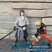 Free Shipping Naruto Uchiha Sasuke + Uzumaki Naruto PVC Action Figure Model Toys 2pcs/set NTFG015