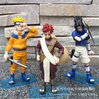 Free Shipping Anime Cartoon Naruto Uzumaki Naruto Uchiha Sasuke Gaara PVC Action Figures Collectible Toys Dolls 3pcs/set NTFG069