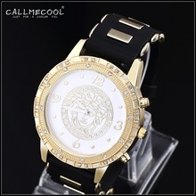 2015 Fashion 24K Gold Plated Big Men Women Quartz Watch Wristwatch Rhinestone Pave set bar club