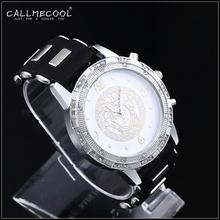 2015 Fashion 24K Gold Plated Big Men Women Quartz Watch Wristwatch Rhinestone Pave set bar club