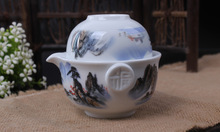 gaiwan Blue and white porcelain Ceramic tea sets Landscape painting Kung Fu Tea Quik Cup pot Two in one portable Travel Set