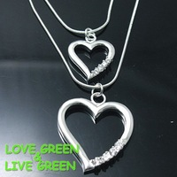 Free Shipping Hotselling Classic 925 Sterling silver double hearts Charm Pendant Link Necklace Italy fashion jewelry set N004