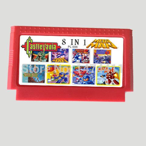 Супер редкий только 30 шт 8 в 1 мега человек 1 / 2 / 3 / 4 / 5 / 6 и Castlevania 1/2 8 бит большой желтый игра картридж