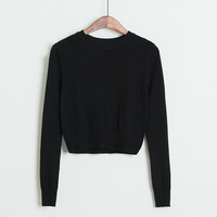 Aa for top shop high waist tight fitting bare midriff basic sweater classic o-neck long-sleeve knitted