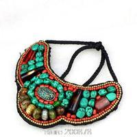 TNL171  Tibetan T-fashion big statement pendant Necklace,Nepal colorful stone beaded sewed Pendants Amazing 2015 Spring New
