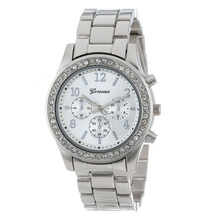 Selljimshop Faux Chronograph Quartz Plated Classic Round  Women Crystals Watch