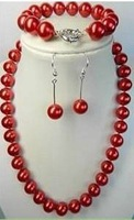 """Beautiful jewelry 7.5''AAA 12mm Red South Sea Shell Pearl Necklace 18"""" FR149"""