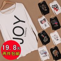 Large code 2012 fall fashion Korean Ladies bat sleeve version long sleeved T-shirt