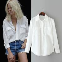 2015 fashion lady's double pocket loose long-sleeve shirt women's chiffon shirt blouse  YHS014  S,M,L