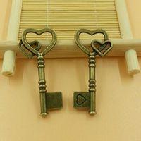 T575 20pcs/lot size 45*32mm key pendant love-love key diy charms Antique  Alloy Jewelry finding key accessories diy charm