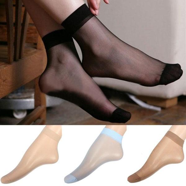 Wholesale 10 Pairs Short Socks Ultra-thin Fiber Brand New 15 Denier Female Ladies Sheer Ankle High Pop 4 Color(China (Mainland))