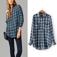 2015  fashion new arrival women's lady's  plaid print basic shirt 100% cotton long-sleeve shirt blouse YHS07 S,M,L