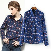 2015  flamingly for spring fashion print blue shirt women's long-sleeve turn-down collar chiffon shirt blouse YHS013 S,M,L