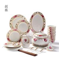 Sword ceramic tableware rose 56 piece set dishes set marriage gift