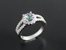 60 off Rainbow Austrian Crystal CZ Diamond mystic Topaz vintage women Finger Rings austrian anneaux bague