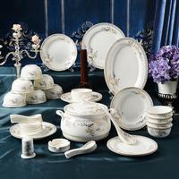 Sword ceramic tableware swan lake 56 piece set dishes set marriage gift