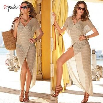 Оптовая продажа женщины пляж платье 2015 свободного покроя В - образным вырезом пляжная одежда полый бикини прикрыть бесплатная доставка 10