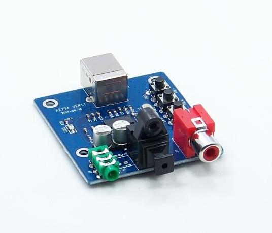 Free shipping 5pcs/lot PCM2704 USB DAC USB Power fiber optic coaxial analog output Sound Card Decoder Board(China (Mainland))